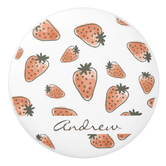 CUTE ORANGE RED WATERCOLOUR STRAWBERRIES MONOGRAM CERAMIC KNOB