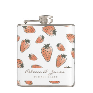 CUTE ORANGE RED WATERCOLOUR STRAWBERRIES MONOGRAM FLASK