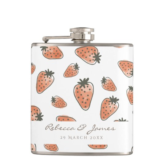 CUTE ORANGE RED WATERCOLOUR STRAWBERRIES MONOGRAM HIP FLASK