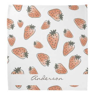 CUTE ORANGE RED WATERCOLOUR STRAWBERRIES MONOGRAM KERCHIEF