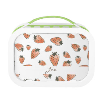 CUTE ORANGE RED WATERCOLOUR STRAWBERRIES MONOGRAM LUNCHBOX