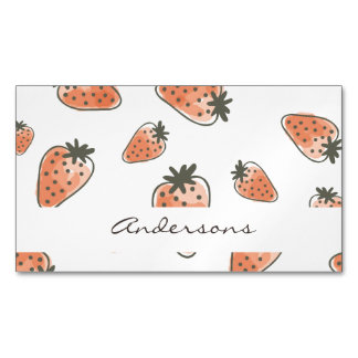 CUTE ORANGE RED WATERCOLOUR STRAWBERRIES MONOGRAM MAGNETIC BUSINESS CARDS
