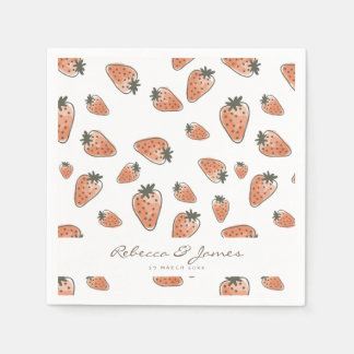 CUTE ORANGE RED WATERCOLOUR STRAWBERRIES MONOGRAM PAPER SERVIETTES