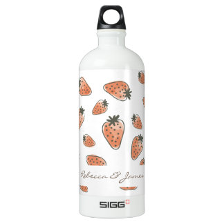 CUTE ORANGE RED WATERCOLOUR STRAWBERRIES MONOGRAM SIGG TRAVELLER 1.0L WATER BOTTLE