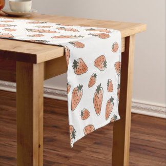 CUTE ORANGE RED WATERCOLOUR STRAWBERRIES SHORT TABLE RUNNER
