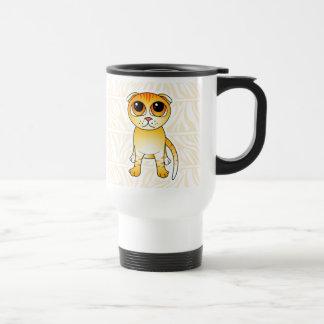Cute Orange Scottish Fold Cat Cartoon Coffee Mugs