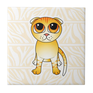 Cute Orange Scottish Fold Cat Cartoon Small Square Tile