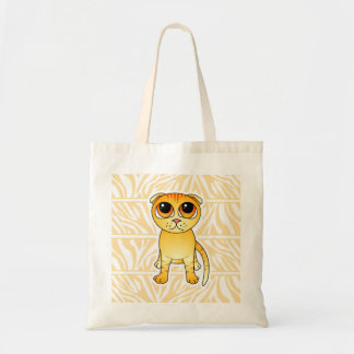 Cute Orange Scottish Fold Cat Cartoon Budget Tote Bag