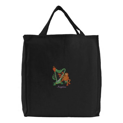 Cute Orange Spider Playing Flower Musical Harp Canvas Bag