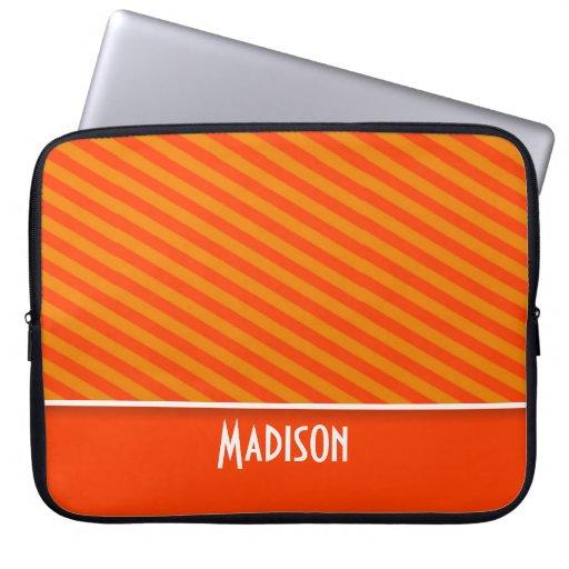 Cute Orange Stripes; Striped Laptop Computer Sleeves