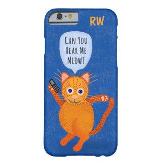 Cute Orange Tabby Cat Cartoon Meow Pun Monogram Barely There iPhone 6 Case