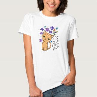 Cute Orange Tabby Cat T-shirt Floral Cat Graphic