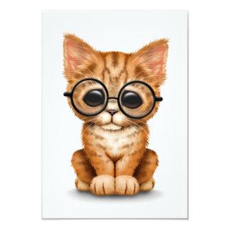 Cute Orange Tabby Kitten with Eye Glasses white Custom Invitations