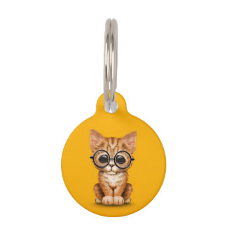 Cute Orange Tabby Kitten with Eye Glasses yellow Pet ID Tags