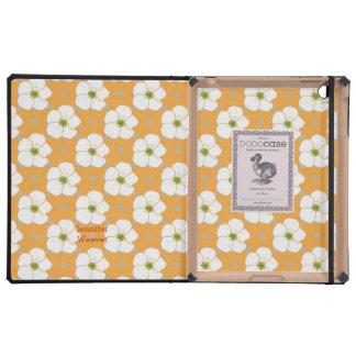 Cute Orange & White Floral DODO iPad Case