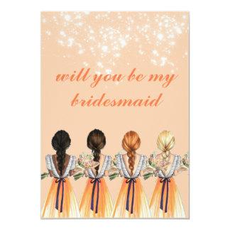 cute orange will you be my bridesmaid Invitation