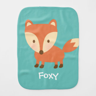 Cute Orange Woodland Fox For Babies Baby Burp Cloths