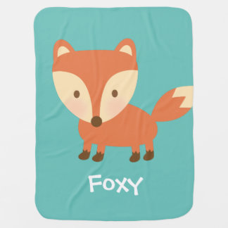 Cute Orange Woodland Fox For Babies Pram blanket