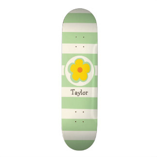 Cute Orange Yellow and Green Flower Skate Board Deck