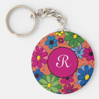 Cute OrangePink Green Floral Monogram Personalized Basic Round Button Key Ring