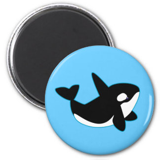 Cute Orca (Killer Whale) 6 Cm Round Magnet