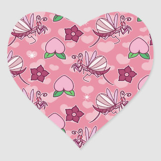 Cute Orchid Mantises and Peaches Pink Pattern Heart Sticker