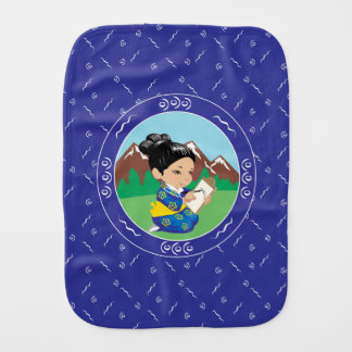 Cute oriental inspired girl painting landscape burp cloth