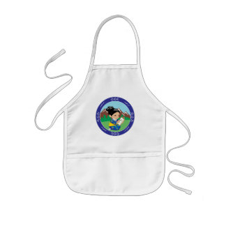 Cute oriental inspired girl painting landscape kids apron