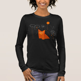 Cute Origami Fox Is Happy Dark Female Long Sleeve Long Sleeve T-Shirt