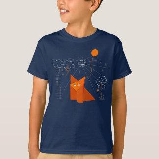 Cute Origami Fox Is Happy Dark Kids T-Shirt