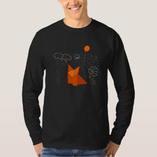 Cute Origami Fox Is Happy Male Long Sleeve T-Shirt