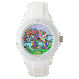 Cute ornamental folk art abstractcolorful elephant watch