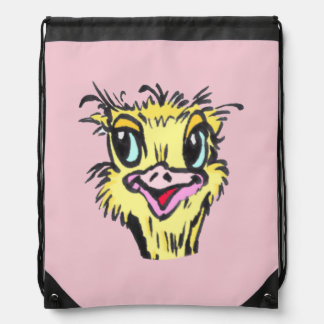 Cute Ostrich Cartoon Drawstring Backpack