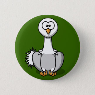 Cute Ostrich On Green Grass Button Pin