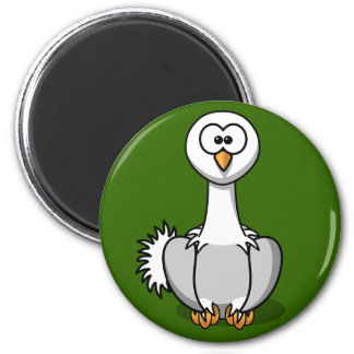 Cute Ostrich On Green Grass Fridge Magnet