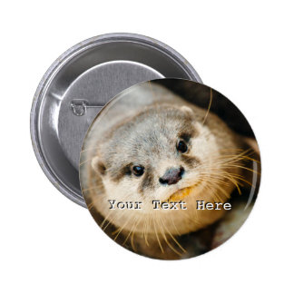 Cute Otter, Animal Portrait, Nature Photography 6 Cm Round Badge