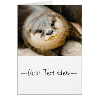 Cute Otter, Animal Portrait, Nature Photography Card