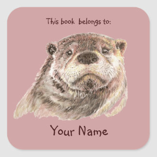 Cute Otter Animal This book belongs Bookplate Square Sticker
