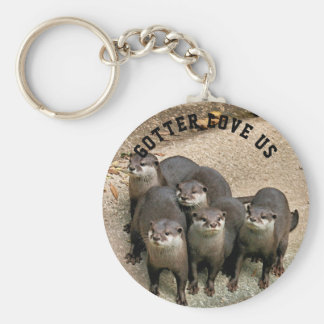 Cute Otter Family Wildlife Photo | Funny Otter Basic Round Button Key Ring