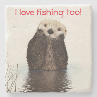 Cute Otter fishing coaster