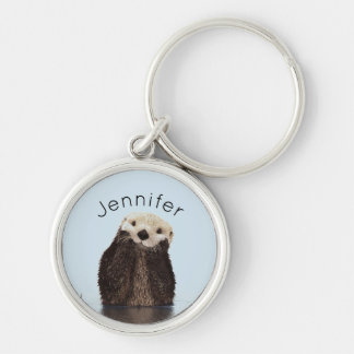 Cute Otter Standing in a Pond Holding his Face Key Ring