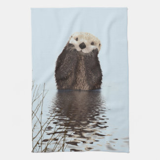 Cute Otter Standing in a Pond Holding his Face Tea Towel