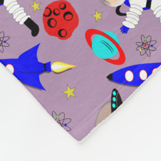Cute Outer Space Themed Fleece Blanket