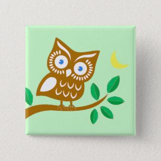 Cute Owl 15 Cm Square Badge