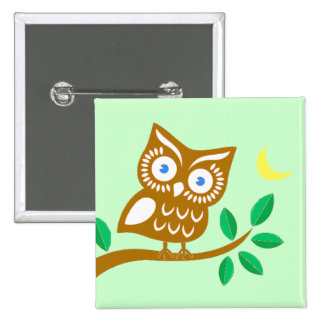 Cute Owl 15 Cm Square Badge