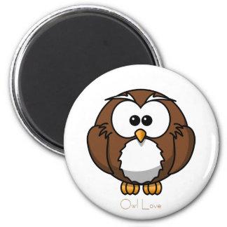 Cute Owl 6 Cm Round Magnet