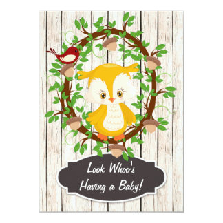 Cute Owl and Acorn Wreath Baby Shower Invitation