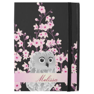 """Cute Owl And Cherry Blossoms Monogram iPad Pro 12.9"""" Case"""
