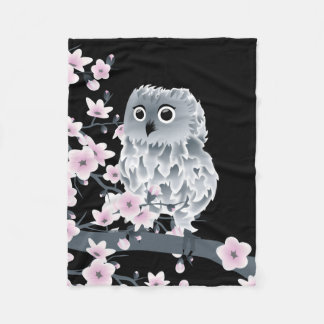 Cute Owl and Cherry Blossoms Pink Black Fleece Blanket