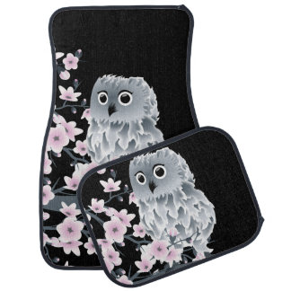 Cute Owl and Cherry Blossoms Pink Black Floor Mat